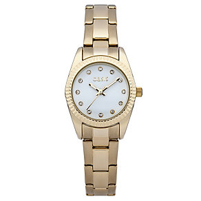 Oasis Ladies' White Dial Gold-Plated Bracelet Watch - Product number 2032244