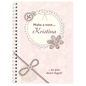 Personalised Notebook - Lace & Flowers Design - Product number 2032252