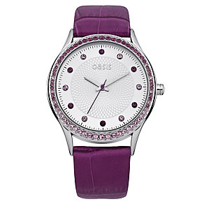 Oasis Ladies' Stone Set Purple Leather Strap Watch - Product number 2032295