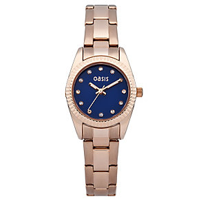 Oasis Ladies' Blue Dial Rose Gold-Plated Bracelet Watch - Product number 2032309