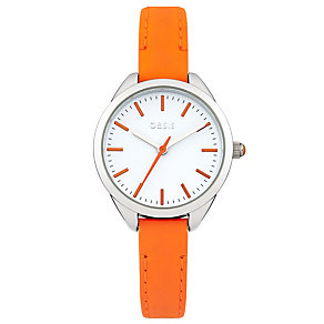 Oasis Ladies' White Dial Neon Orange Leather Strap Watch - Product number 2032325
