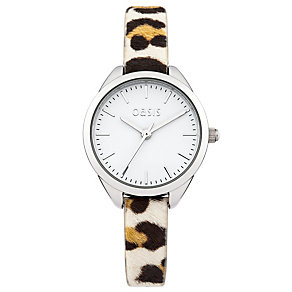 Oasis Ladies' White Dial Leopard Print Strap Watch - Product number 2032333