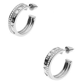 Emporio Armani sterling silver stone set hoop earrings - Product number 2035707
