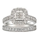 18ct white gold one carat diamond bridal ring set - Product number 2036274