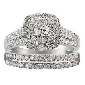18ct white gold one carat diamond halo bridal ring set - Product number 2036568