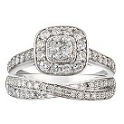 18ct white gold one carat diamond bridal ring set - Product number 2036703