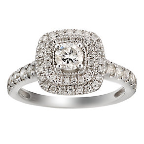 18ct white gold one carat diamond double cushion halo ring - Product number 2037211