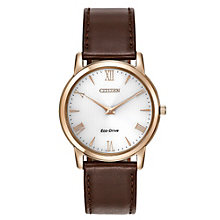 Citizen Eco-Drive men's rose gold-plated leather strap watch - Product number 2039346