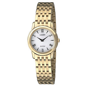 Citizen Eco-Drive Stiletto ladies' gold-plate bracelet watch - Product number 2039915