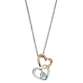 The Forever Diamond Silver & 9ct Rose Gold Hearts Pendant - Product number 2039990