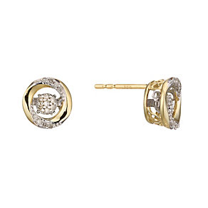 Diamonds In Rhythm 9ct Gold Diamond Round Stud Earrings - Product number 2040085