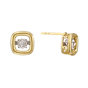 Diamonds In Rhythm 9ct Gold Diamond Square Stud Earrings - Product number 2040107