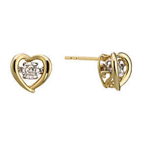 Diamonds In Rhythm 9ct Gold Diamond Heart Stud Earrings - Product number 2040115
