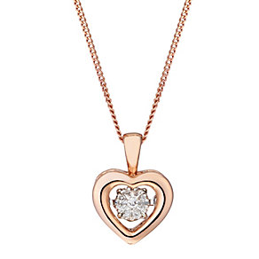 Diamonds in Rhythm 9ct Rose Gold Diamond Heart Pendant - Product number 2040158