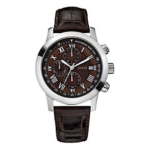 Guess Men's Brown Multi Dial Brown Leather Strap Watch - Product number 2046105