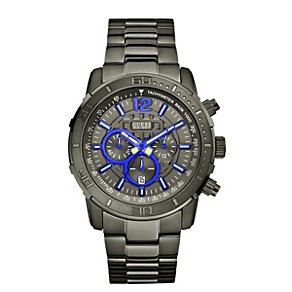 Guess Men's Grey Dial Gunmetal Ion-Plated Bracelet Watch - Product number 2046113