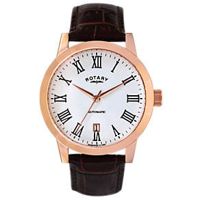 Rotary Men's Rose Gold-Plated White Dial Leather Strap Watch - Product number 2046148
