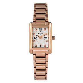 Rotary Ladies' Rose Gold Rectangular Bracelet Watch - Product number 2046164
