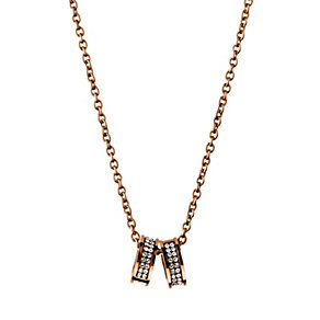 Dyrberg Kern Fermi Rose Gold-Plated Crystal 2 Ring Pendant - Product number 2048957