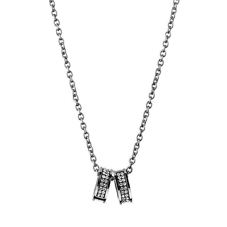 Dyrberg Kern Fermi Stainless Steel Crystal 2 Ring Pendant - Product number 2048965