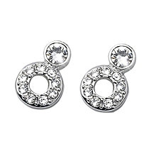 Oliver Weber Rhodium-Plated 2 Circle Crystal Stud Earrings - Product number 2049546