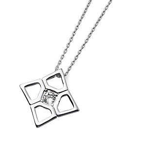 Oliver Weber Rhodium-Plated Square Crystal Pendant - Product number 2049570
