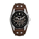Fossil men's chronograph brown leather cuff strap watch - Product number 2050552