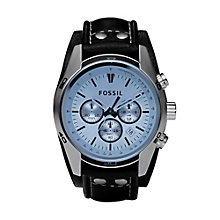 Fossil men's chronograph black leather strap watch - Product number 2050579
