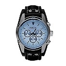 Fossil men's chronograph black leather cuff strap watch - Product number 2050579