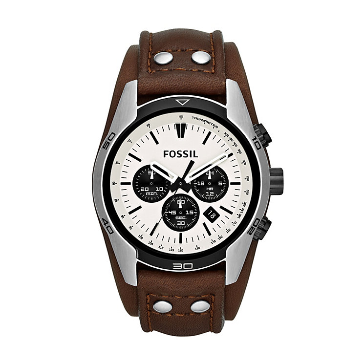 Fossil men's chronograph brown leather cuff strap watch - Product number 2050587