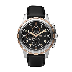 Fossil Dean men's chronograph black leather strap watch - Product number 2050986