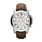 Fossil Grant men's white dial brown leather strap watch - Product number 2051044