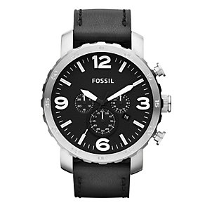 Fossil Nate men's chronograph black leather strap watch - Product number 2051168