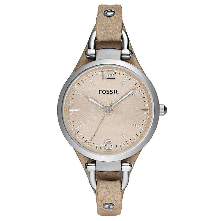Fossil Georgia ladies' beige leather strap watch - Product number 2051443