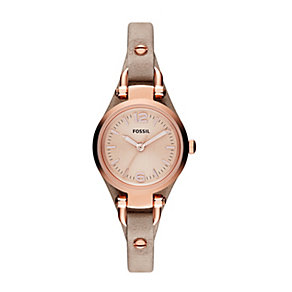 Fossil Georgia lades' rose gold-plated leather strap watch - Product number 2051524