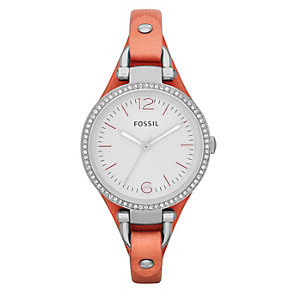 Fossil Georgia ladies' stone set pink leather strap watch - Product number 2051540