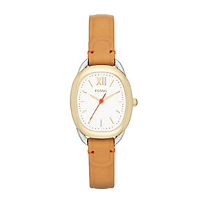 Fossil Sculptor ladies' tan leather strap watch - Product number 2052113