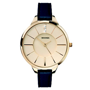 Sekonda Crystalla Ladies' Gold-Plated Blue Strap Watch - Product number 2064057