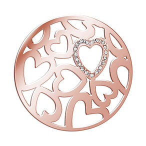 Lucet Mundi rose gold-plated stone set love coin - small - Product number 2064332
