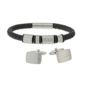 Leather & Steel Bracelet & Cufflink Set - Product number 2064596