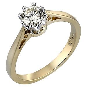 18ct Gold Half Carat Diamond Solitaire Ring