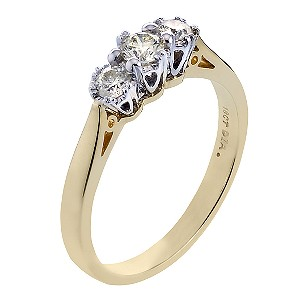 18ct Gold Quarter Carat Diamond Trilogy Ring