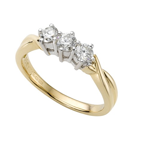18ct gold half carat diamond three stone ring