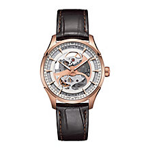 Hamilton men's skeleton black leather strap watch - Product number 2086255