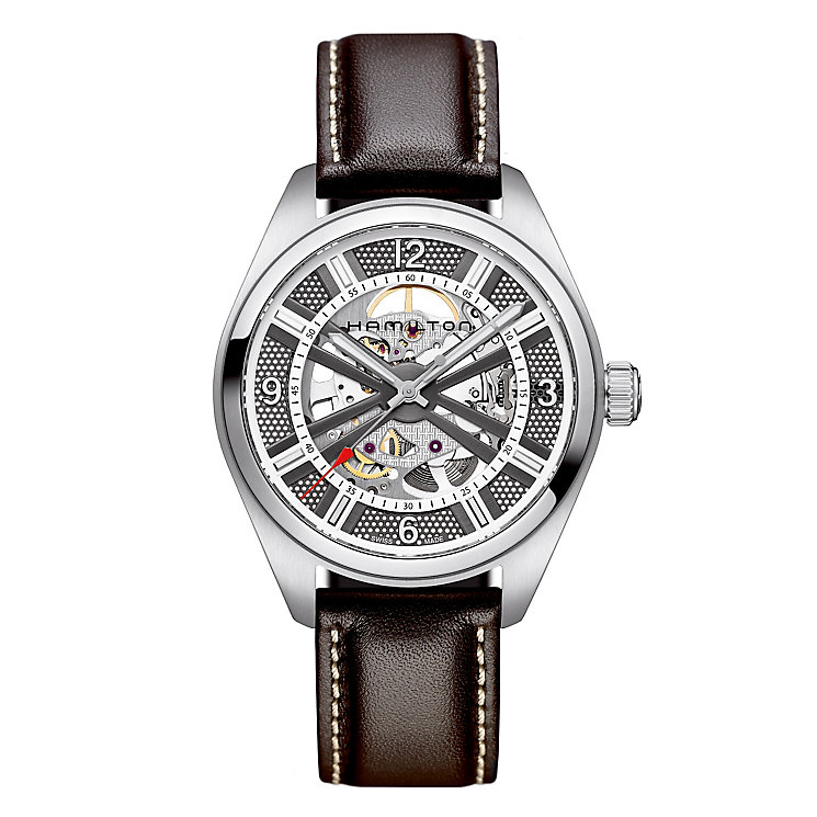 Hamilton men's automatic brown leather strap watch - Product number 2086301