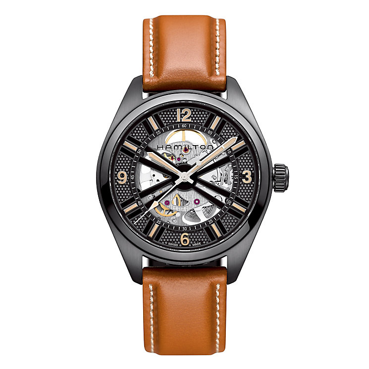 Hamilton men's black ion-plated brown leather strap watch - Product number 2086328