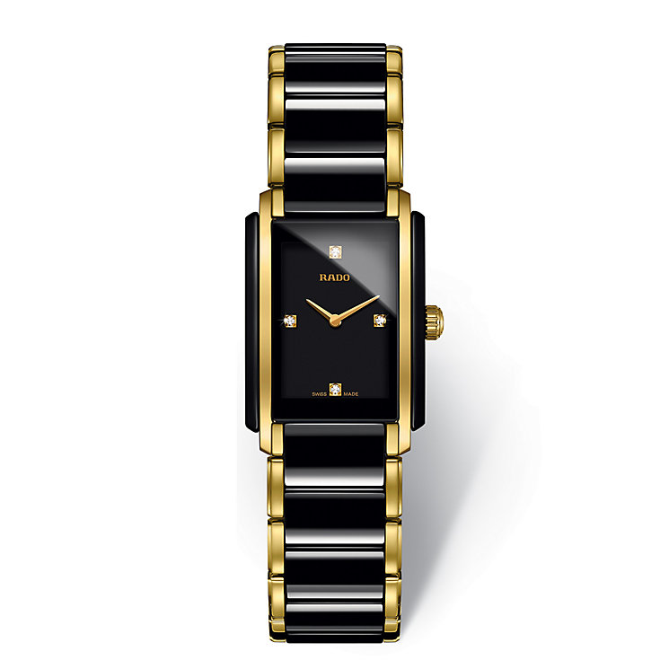 Rado ladies' gold plate & black ceramic bracelet watch - Product number 2087901