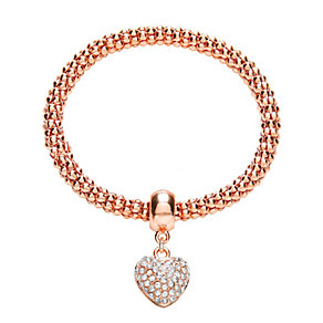 Buckley Rose Gold Plated Stone Set Heart Bracelet - Product number 2118661