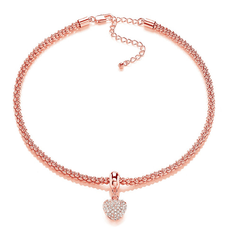 Buckley London Rose Gold Plated Stone Set Heart Necklace - Product number 2118718
