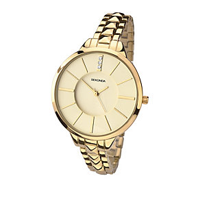 Sekonda Editions Ladies Gold Tone Stone Set Watch - Product number 2141442